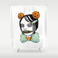 alisa burke Shower Curtains featuring cavity cutie I by Ally Burke