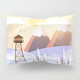 Vector Art Landscape with Fire Lookout Tower Pillow Sham