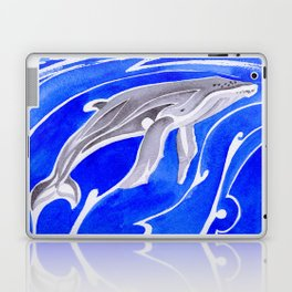 humpback whale and polynesian outrigger sail boat Laptop & iPad Skin