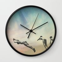 boys Wall Clocks featuring Boys by lacabezaenlasnubes