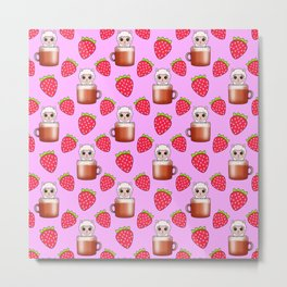 Cute little happy funny fluffy little baby llamas sitting in espresso coffee cups, yummy red ripe sweet summer strawberries light pastel pink fruity pattern design. Metal Print