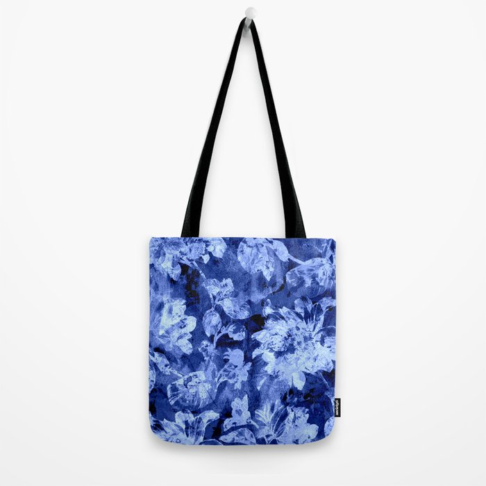 blue double floral Tote Bag