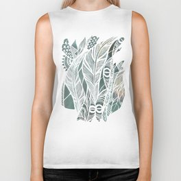 Feathery Design in Emerald Green Biker Tank