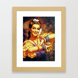 Jesus Helguera Painting of a Mexican Calendar Girl with Bangles Framed Art Print