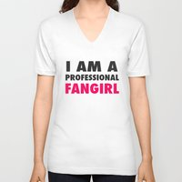 fangirl V-neck T-shirts featuring Professional Fangirl by Stefanie Judith