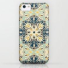 Protea Pattern in Deep Teal, Cream, Sage Green & Yellow Ochre  iPhone 5c Slim Case