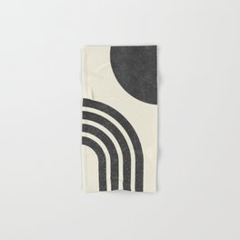 Mid century modern - Sun & Rainbow black Hand & Bath Towel