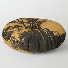 Exotic Tropical Trees Silhouette, Socotra Island Sepia Floor Pillow