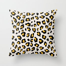 Leopard Print - Mustard Yellow Throw Pillow