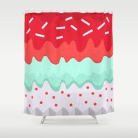 cupcake Shower Curtains featuring Cupcake by Kakel
