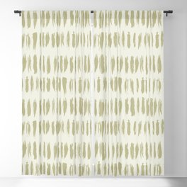 Earthy Green on Cream Parable to 2020 Color of the Year Back to Nature Bold Grunge Vertical Stripes Blackout Curtain