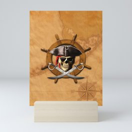 Jolly Roger Pirate Wheel Mini Art Print