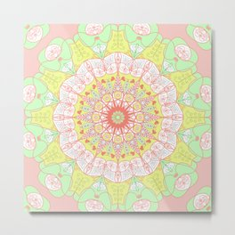 Mandala Design Pattern Pastel Colors Metal Print