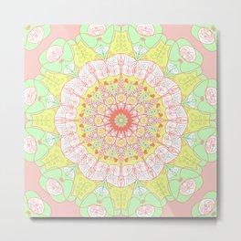 Mandala Design Pattern Pastel Colors Metal Print