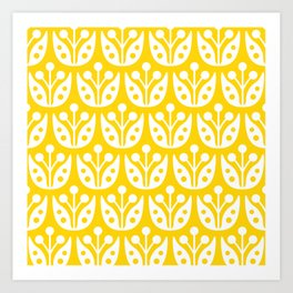 Mid Century Flower Pattern Yellow Art Print