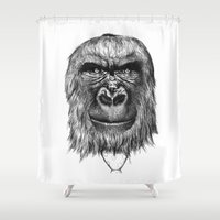 gorilla Shower Curtains featuring Gorilla  by Кaterina Кalinich