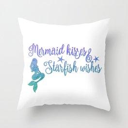 Mermaid Kisses Starfish Wishes Throw Pillow