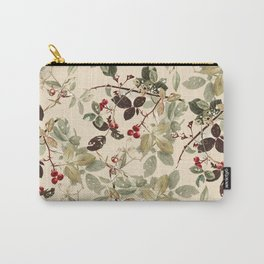 Vintage ivory red green forest berries floral Carry-All Pouch