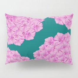 Flowerpower - Pink Flower Balls On A Dark Green Background - #society6 Pillow Sham
