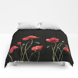 Poppies at Midnight Comforters
