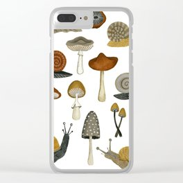 mushrooms and snails Clear iPhone Case