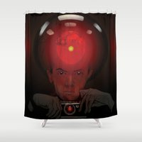stanley kubrick Shower Curtains featuring Stanley Kubrick by Philipp Banken