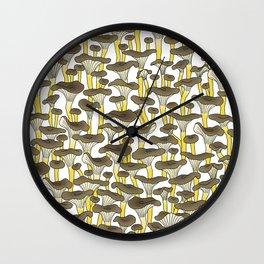Yellow Foot Mushrooms Wall Clock