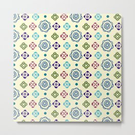 Retro Whimsical Floral Pattern Metal Print