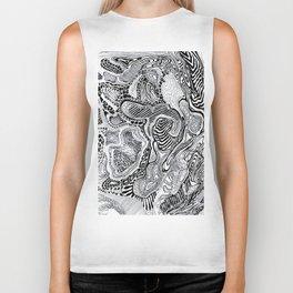 Topographic abstract Biker Tank