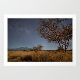 Stars over Kilimanjaro. Kenya. Art Print
