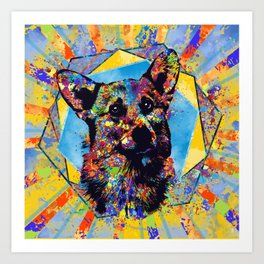 Colorful Corgi Portrait Abstract Mixed Media Art Print