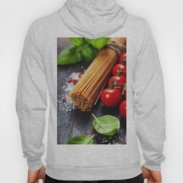 Spaghetti and tomatoes with herbs on an old and vintage wooden table Hoody