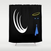 castiel Shower Curtains featuring Minimalist Castiel by Kellyanne