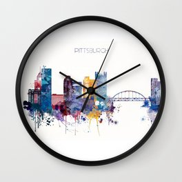Watercolor cityscape of Pittsburgh Wall Clock