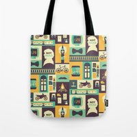 risa rodil Tote Bags featuring Empty Hearse by Risa Rodil