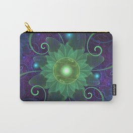 Glowing Blue-Green Fractal Lotus Lily Pad Pond Carry-All Pouch