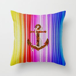 anchor of rainbow Throw Pillow