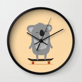 Cute cartoon koala skateboarding Wall Clock