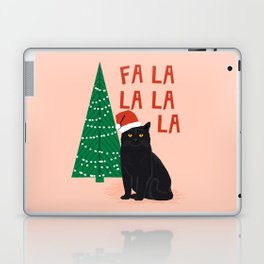 Black Cat cute fa la la christmas xmas tree holiday funny cat art cat lady gift unique pet gifts Laptop & iPad Skin