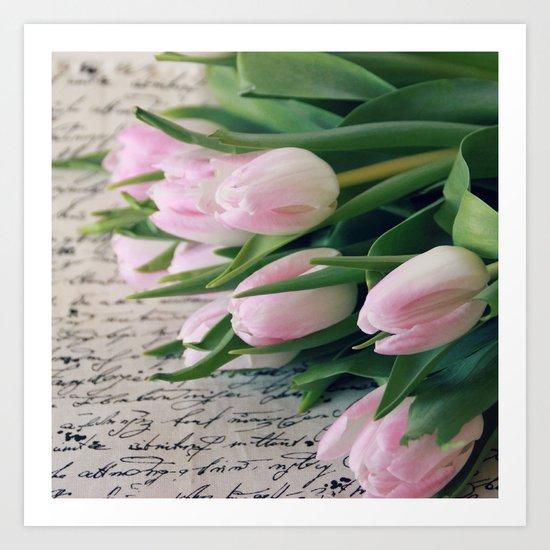 Spring Pink Tulips Art Print