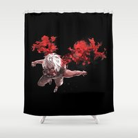 tokyo ghoul Shower Curtains featuring Kaneki Tokyo Ghoul 5 by Prince Of Darkness
