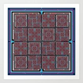 number 143 aqua blue white black pattern Art Print