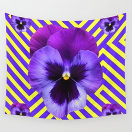 CONTEMPORARY PURPLE PANSIES  FLOWERS YELLOW PATTERNS Wall Tapestry