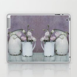 Shabby French chic-vintage metal jugs with flowers Laptop & iPad Skin