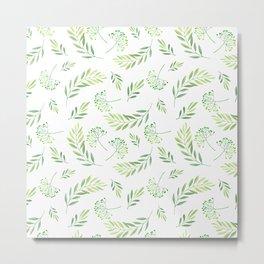 Hand painted green watercolor modern leaves floral Metal Print
