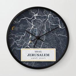 Jerusalem Israel City Map with GPS Coordinates Wall Clock