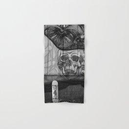 Skulls and Skating (Black and White) Hand & Bath Towel