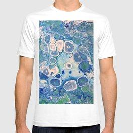 Blue Green Cells Fluid Pour Art Marble Swirls Stone T-shirt