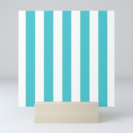 Sea Serpent turquoise - solid color - white vertical lines pattern Mini Art Print