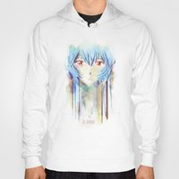 evangelion Hoodies featuring Rei Ayanami from Evangelion Digital Mixed Media by Barrett Biggers